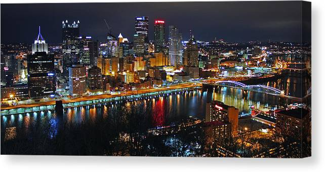 Pittsburgh Canvas Print featuring the photograph Colorful Night by Iryna Goodall