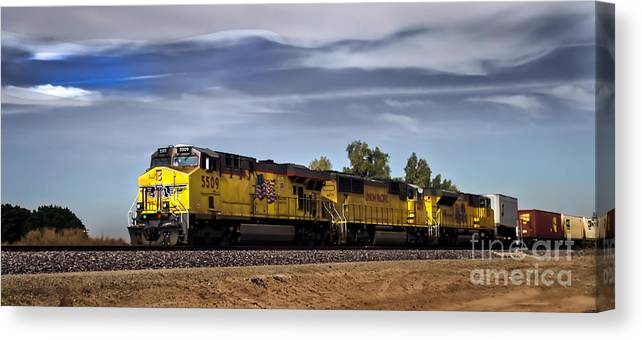 Train Canvas Print featuring the photograph Freight Train 5509 by Robert Bales