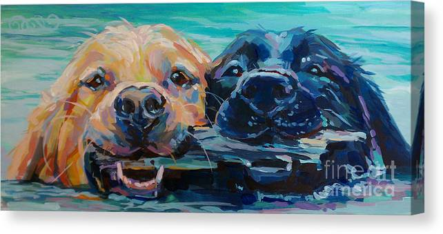 Golden Retriever Canvas Print featuring the painting Stick It by Kimberly Santini