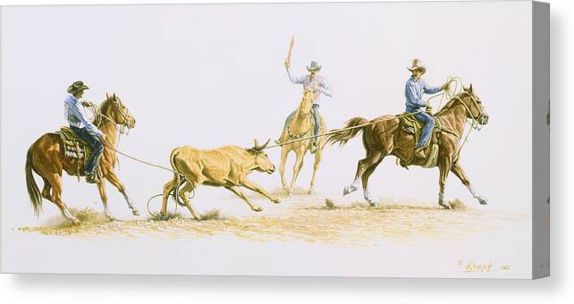 Cowboy Canvas Print featuring the painting Team Roping by Paul Krapf