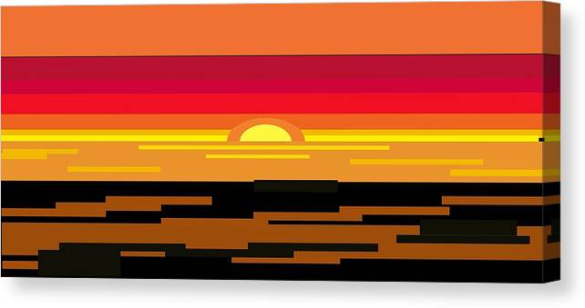 Sunset Canvas Print featuring the digital art Video Arcade Sunset by P Dwain Morris