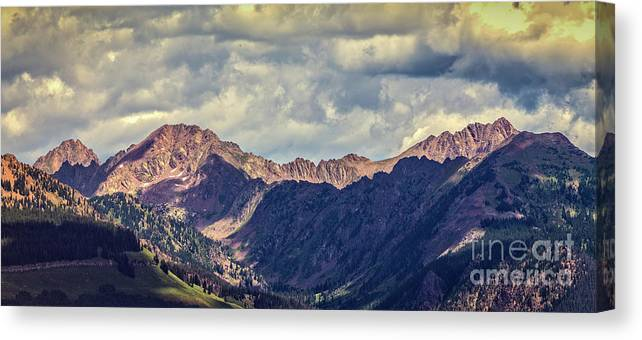 Storm Clouds Canvas Print featuring the photograph Clouds Over The Gore Range by Franz Zarda