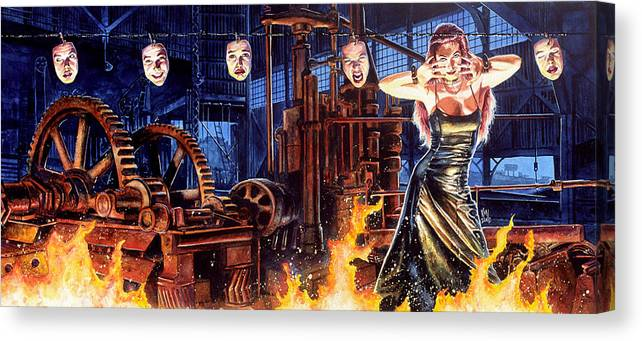 Fantasy Canvas Print featuring the painting Masks by Ken Meyer