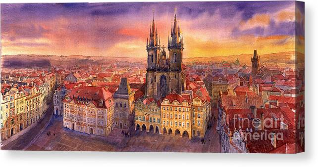 Watercolour Canvas Print featuring the painting Prague Old Town Square 02 by Yuriy Shevchuk