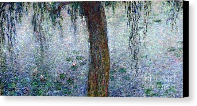 Impressionist Canvas Print featuring the painting Waterlilies Morning With Weeping Willows by Claude Monet