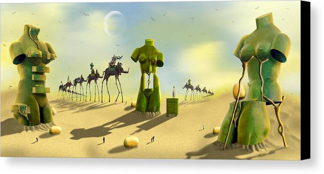 Surrealism Canvas Print featuring the photograph Daliland Park - Panoramic by Mike McGlothlen
