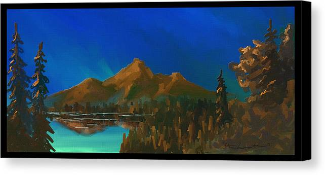 Mountain Canvas Print featuring the painting My Kind Of Peace by Steven Lebron Langston