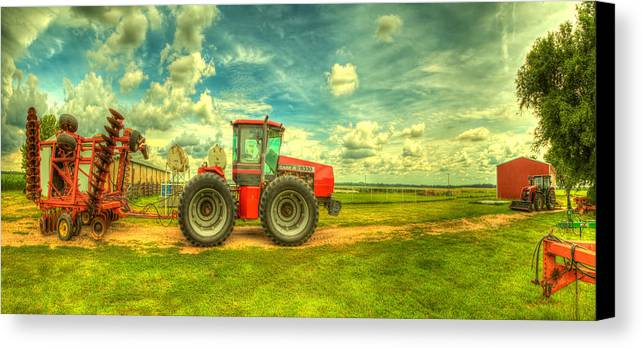 Red Canvas Print featuring the photograph Red Tractor Farm by Caleb McGinn