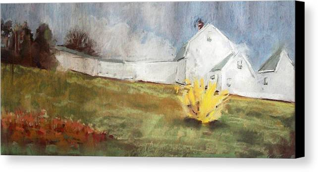 Maine Landscape Canvas Print featuring the pastel Slowly Comes Spring by Grace Keown