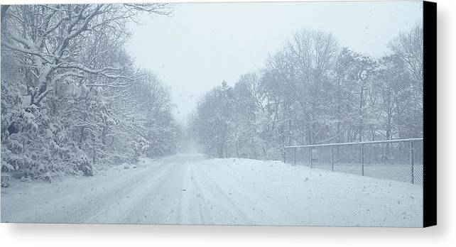 Winter Canvas Print featuring the photograph Stormin Down Easton Street by Tony Ambrosio