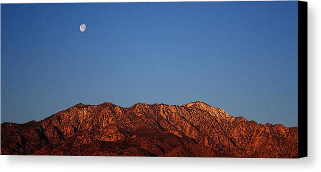 Pictorial Canvas Print featuring the photograph Sunrise With Moon Setting On San Jacinto Mountains by Roger Passman