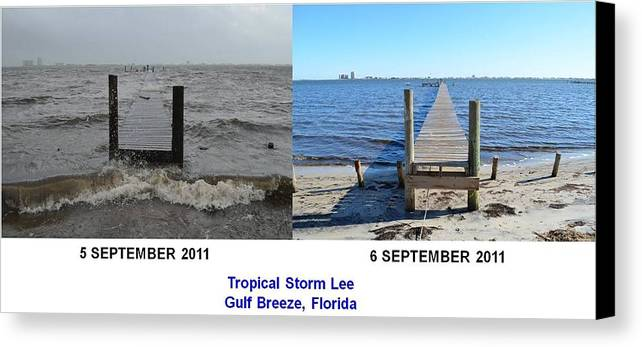 Difference Canvas Print featuring the photograph Tropical Storm Lee Difference A Day Makes by Jeff at JSJ Photography