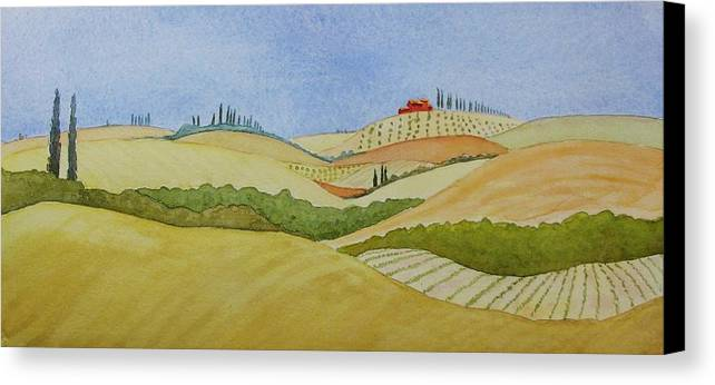 Italy Canvas Print featuring the painting Tuscan Hillside Two by Mary Ellen Mueller Legault