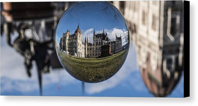 Budapest Canvas Print featuring the photograph Budapest Globe - Houses Of Parliament by Gabor Tokodi