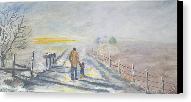Father Canvas Print featuring the painting A Walked To Be Remember by Bryan Benson