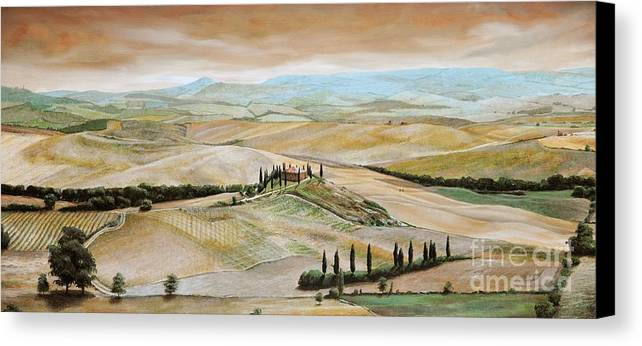 Italian Landscape; Tuscan; Hills; Countryside; Villa; Rural; Agricultural; Farmland; Tuscan Landscape; Hillside; Italy; Belvedere; Tuscany; Tree; Trees Canvas Print featuring the painting Belvedere - Tuscany by Trevor Neal