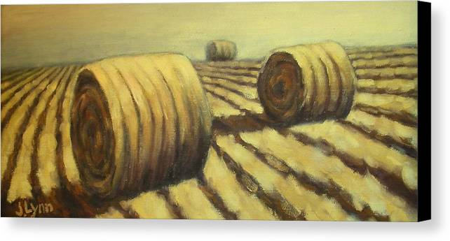 Art Sale Canvas Print featuring the painting Haybales by Jaylynn Johnson