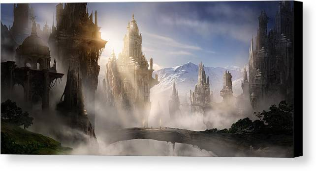 Game Art Canvas Print featuring the digital art Skyrim Fantasy Ruins by Alex Ruiz