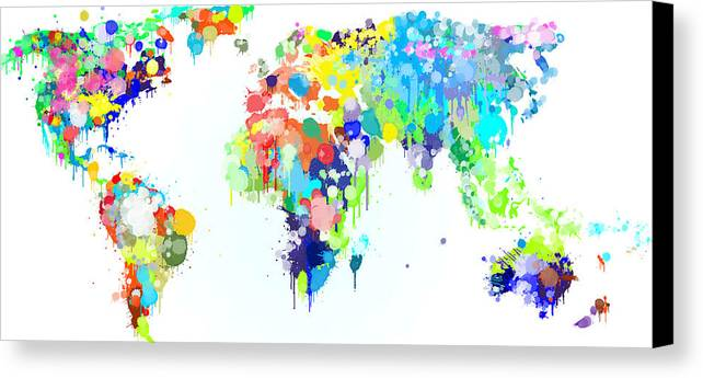 Worldmap ink paint canvas print canvas art by hq photo world canvas print featuring the digital art worldmap ink paint by hq photo gumiabroncs Gallery