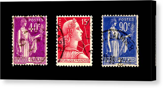 1950s Canvas Print featuring the photograph 1950s French Postage Triptych by Carol Leigh