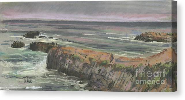 Beach Canvas Print featuring the pastel Pescadero Beach by Donald Maier