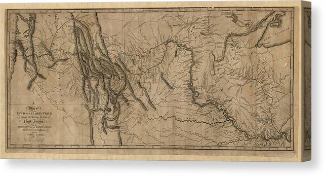 photo regarding Lewis and Clark Printable Map identify Antique Map Of The Lewis And Clark Expedition Through Samuel Lewis - 1814 Canvas Print