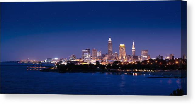 Cleveland Canvas Print featuring the photograph Cleveland Skyline Dusk by John Magyar Photography