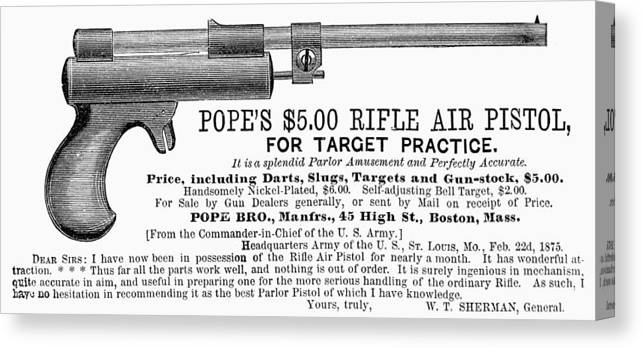 1875 Canvas Print featuring the photograph Advertisement: Air Pistol by Granger