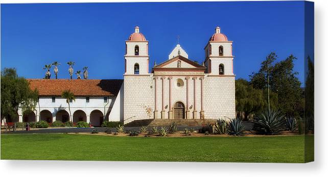 Mission Santa Barbara Canvas Print featuring the photograph Mission Santa Barbara by Mountain Dreams