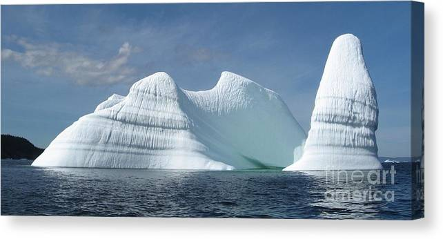 Iceberg Photograph Ice Water Ocean Sea Atlantic Summer Newfoundland Canvas Print featuring the photograph Iceberg by Seon-Jeong Kim