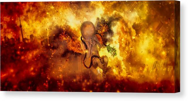 Surreal Canvas Print featuring the digital art Through Ashes Rise II by Mario Sanchez Nevado