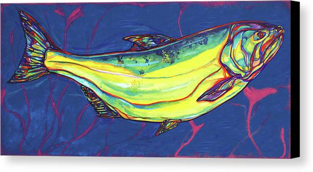 Salmon Canvas Print featuring the painting Salmon Of Knowledge by Derrick Higgins