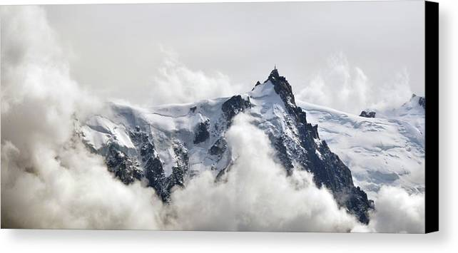 Horizontal Canvas Print featuring the photograph Aiguille Du Midi Out Of Clouds by Thomas Pollin
