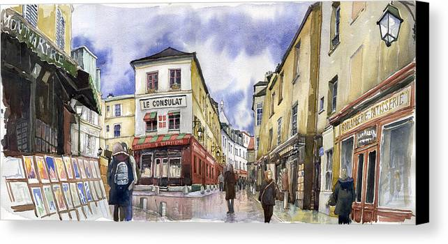 Watercolour Canvas Print featuring the painting Paris Montmartre by Yuriy Shevchuk