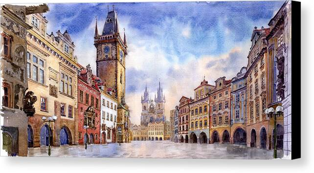Watercolour Canvas Print featuring the painting Prague Old Town Square by Yuriy Shevchuk