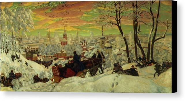 Arriving Canvas Print featuring the painting Arriving For The Holidays by Boris Mihajlovic Kustodiev