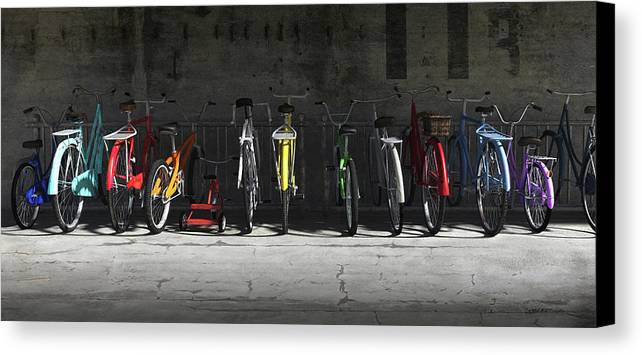 Bicycle Canvas Print featuring the digital art Bike Rack by Cynthia Decker