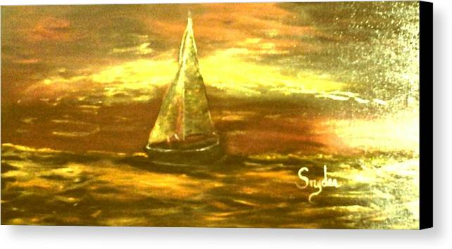 Sailboat Ing Into Gold Years Canvas Print featuring the painting Golden Sailboat Days by Beth Boone Snyder