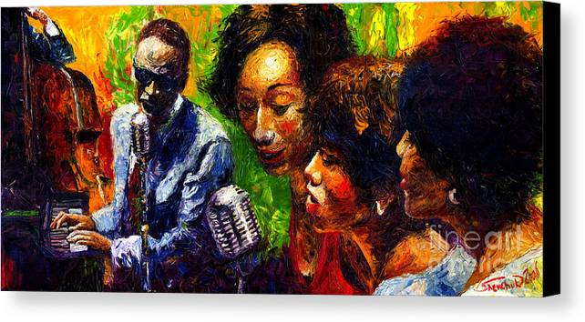Jazz Canvas Print featuring the painting Jazz Ray Song by Yuriy Shevchuk