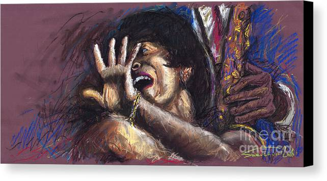 Jazz Canvas Print featuring the painting Jazz Song 1 by Yuriy Shevchuk