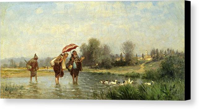 Alfred Wordsworth Thompson Canvas Print featuring the painting Monks And Ducks by Alfred Wordsworth Thompson