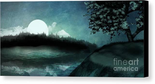 Moon Canvas Print featuring the digital art Moonlit Peace by Torachi Lyncaster