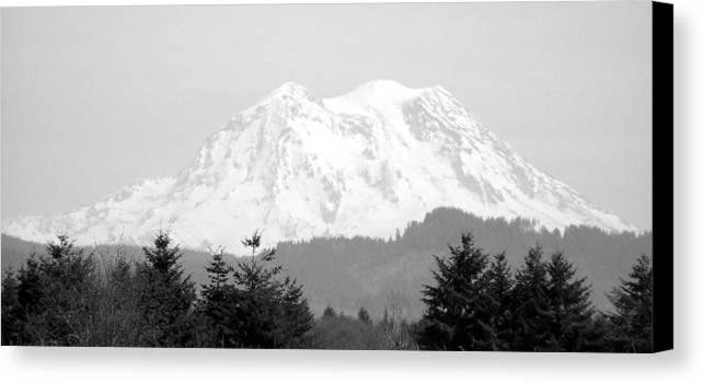Digital Photography Canvas Print featuring the photograph Mount Rainier Black And White by Laurie Kidd