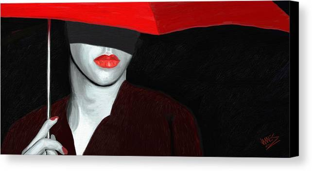 Impressionism Canvas Print featuring the painting Red Lips And Umbrella by James Shepherd