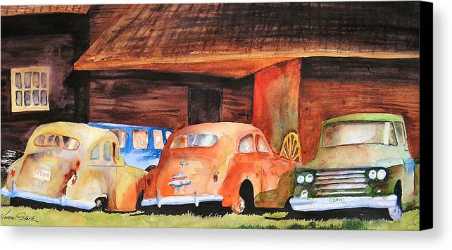 Car Canvas Print featuring the painting Rusting by Karen Stark