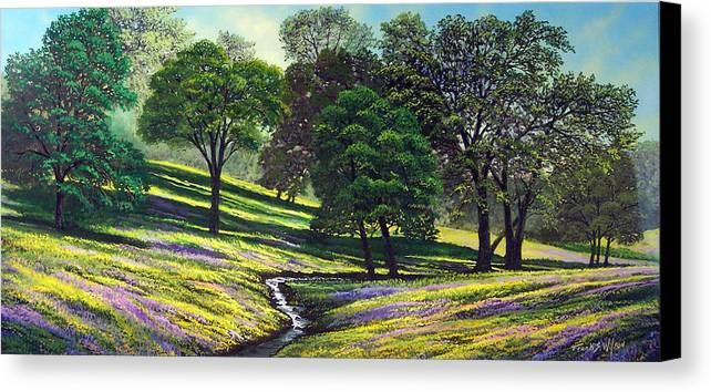Landscape Canvas Print featuring the painting Spring Bloom Table Mountain by Frank Wilson