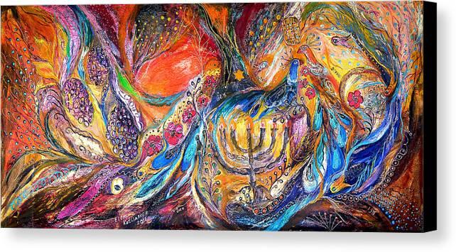 Original Canvas Print featuring the painting The Light Of Menorah by Elena Kotliarker