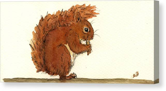 Squirrel Canvas Print featuring the painting Squirrel by Juan Bosco