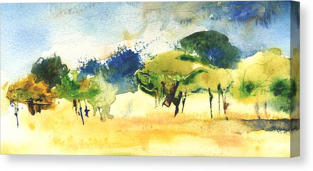 Landscapes Canvas Print featuring the painting Early Morning 62 by Miki De Goodaboom