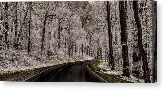Snow Canvas Print featuring the photograph Snow Road by Tom Reed